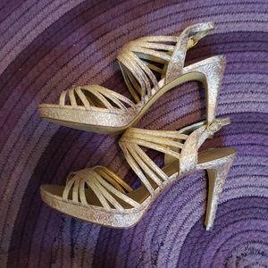 Gold sparkle heels size 10